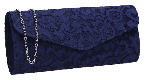 Lucie Lace Effect Envelope Clutch Bag Navy Blue
