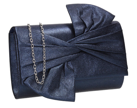 June Bow Style Clutch Bag Navy Blue