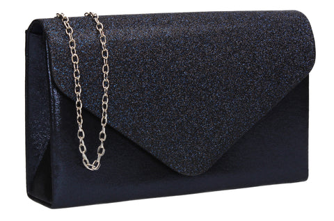 Kelly Glitter Clutch Bag Navy