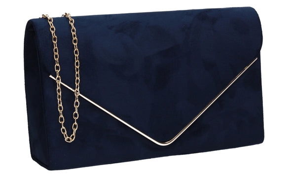 Oscar Faux Suede Envelope Clutch Bag Navy Blue