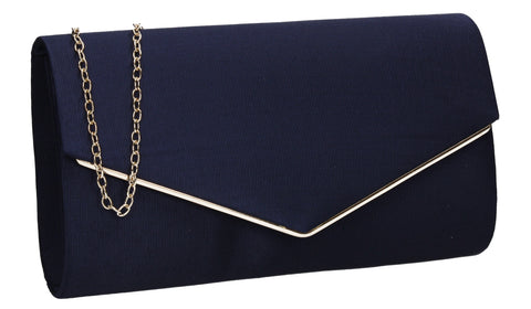 Alison Satin Envelope Clutch Bag Navy Blue
