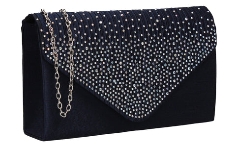 Abby Diamante Clutch Bag Navy