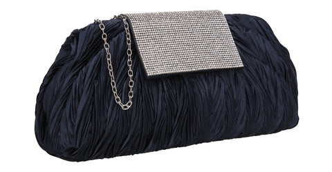 Sienna Diamante Pouch Clutch Bag Navy Blue