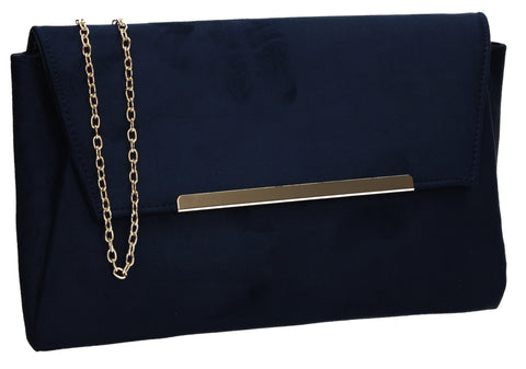 SWANKYSWANS Joe Plain Faux Suede Clutch Bag Navy Blue