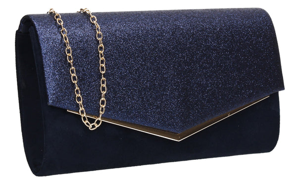 SWANKYSWANS Janey Clutch Bag Navy Cute Cheap Clutch Bag For Weddings School and Work