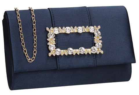 Kenzie Flapover Faux Gem Satin Clutch Bag Navy Blue