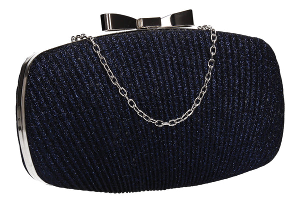 Gwen Synthetic Glitter Box Shape Clutch Bag Navy Blue