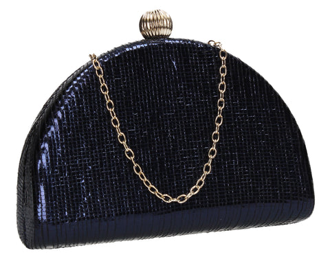 Felicity Semi Circle Diamante Clutch Bag Navy Blue