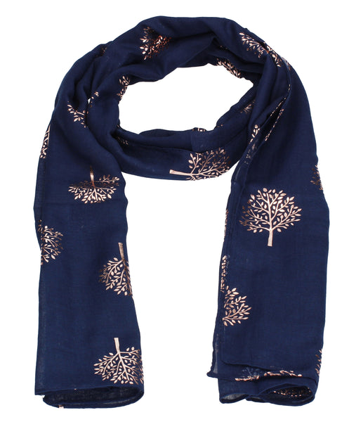Swanky Swans Mulberry Rose Gold Tree Scarf Navy Beautiful school Summer Winter Scarf