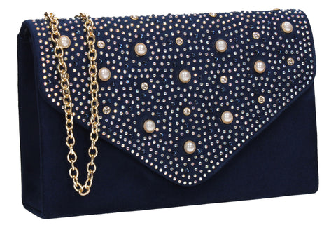 SWANKYSWANS Laurel Clutch Bag Navy Blue Cute Cheap Clutch Bag For Weddings School and Work