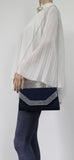 SWANKYSWANS Harper Clutch Bag Navy Blue Cute Cheap Clutch Bag For Weddings School and Work