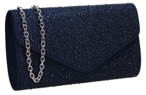 SWANKYSWANS Cadence Clutch Bag Navy Blue Cute Cheap Clutch Bag For Weddings School and Work