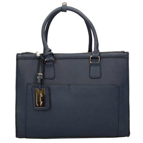 Naples Cosmo City Work Bag - Navy-Handbags-SWANKYSWANS