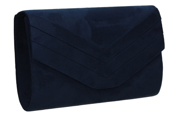 Samantha V Detail Clutch Bag Navy Blue