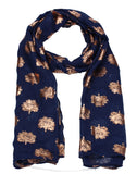 Oak Tree Print Rose Gold Foil Winter Scarf Dark Blue