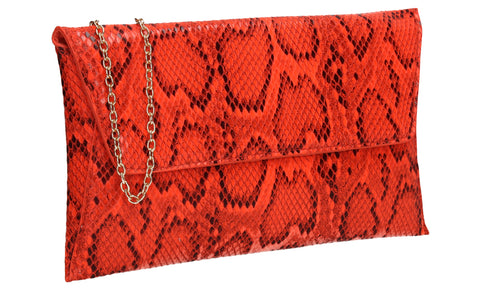 Karla Faux Snakeskin Effect Flapover Clutch Bag Neon Coral