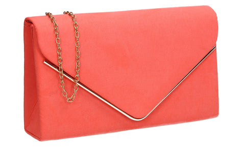 Poppy Faux Suede Envelope Clutch Bag Neon Coral