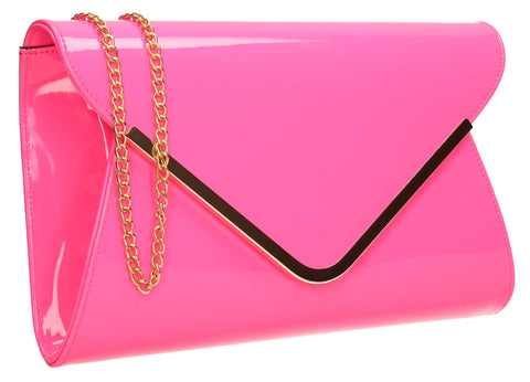 Billie Envelope Clutch Bag Neon Fuschia-Clutch Bag-SWANKYSWANS