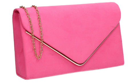 Poppy Faux Suede Envelope Clutch Bag Neon Pink