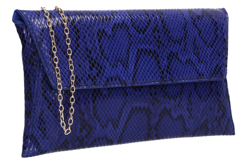 Karla Faux Snakeskin Effect Flapover Clutch Bag Neon Royal