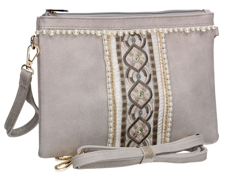 SWANKYSWANS Delilah Clutch Bag Neutral Grey Cute Cheap Clutch Bag For Weddings School and Work