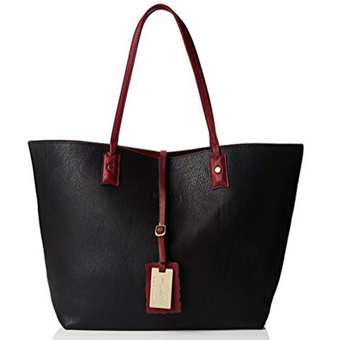 Nina Large Reversible Totebag - Black & Burgundy-Handbags-SWANKYSWANS