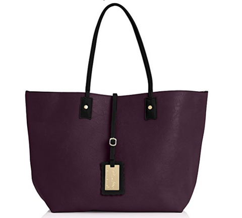 Nina Large Reversible Totebag - Purple & Black-Handbags-SWANKYSWANS