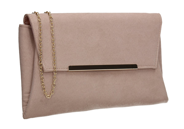 SWANKYSWANS Joe Plain Faux Suede Clutch Bag Beige