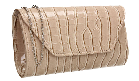 Erin Croc Effect Clutch Bag Nude