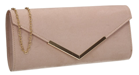 Leona Envelope Faux Suede Clutch Bag Nude
