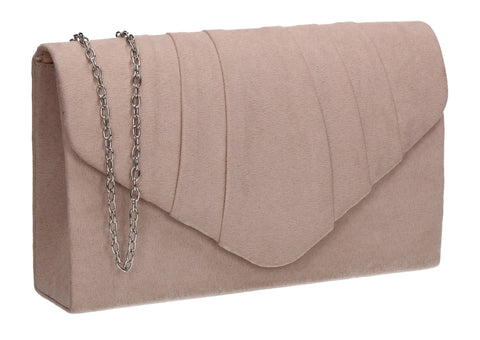 Iggy Faux Suede Clutch Bag Beige