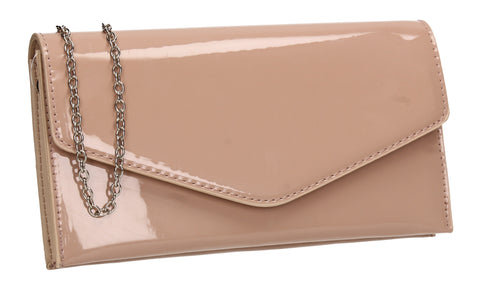 Evie Plain Patent Envelope Clutch Bag Nude
