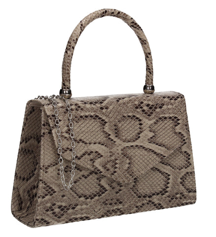 Lucy Mini-Handbag Faux Leather Snakeskin Effect Clutch Bag Nude