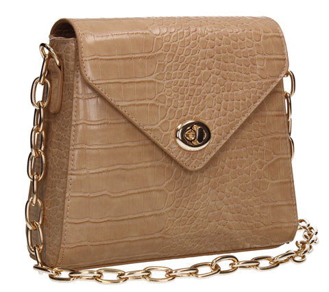 Carrie Croc Chain Crossbody Clutch Bag Nude