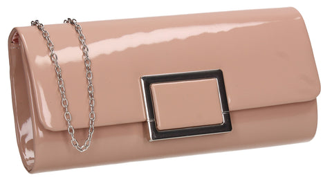 Katelyn Flapover Patent Clutch Bag Pink