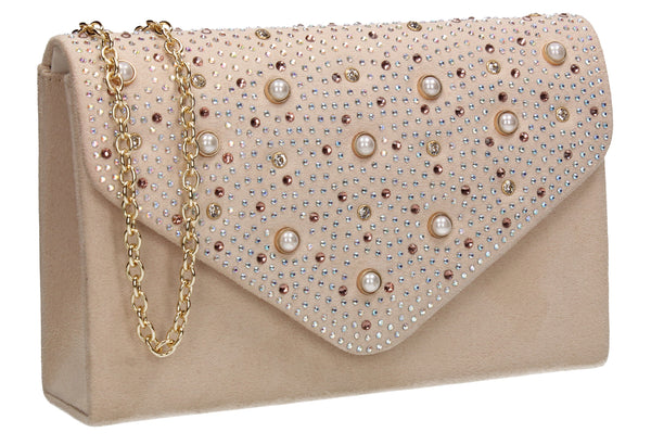 SWANKYSWANS Laurel Clutch Bag Beige Cute Cheap Clutch Bag For Weddings School and Work