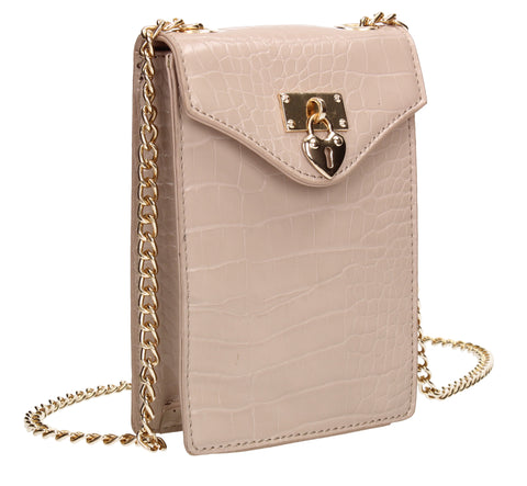 Willow Tall Patent Croc Effect Crossbody Bag Nude Pink