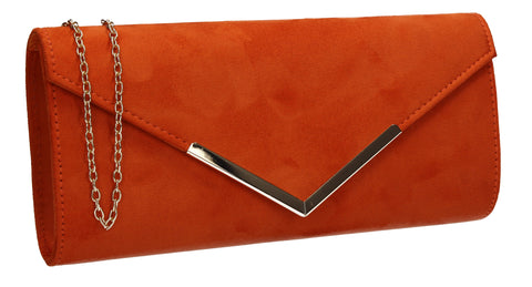 Leona Envelope Faux Suede Clutch Bag Orange
