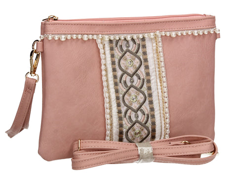 SWANKYSWANS Delilah Clutch Bag Pale Pink Cute Cheap Clutch Bag For Weddings School and Work