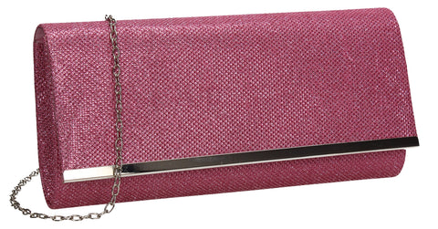 Lucey Flapover Glitter Clutch Bag Pink