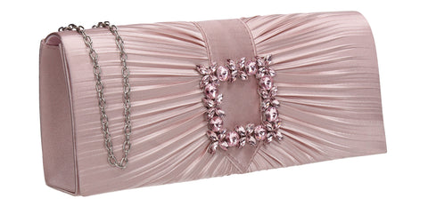 Chloe Satin Clutch Bag Pink
