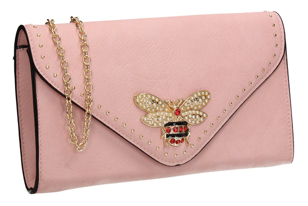 SWANKYSWANS Shannon Clutch Bag Pink Cute Cheap Clutch Bag For Weddings School and Work