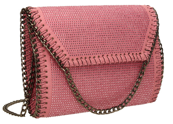 SWANKYSWANS Soi Diamante Clutch Bag Pink Cute Cheap Clutch Bag For Weddings School and Work