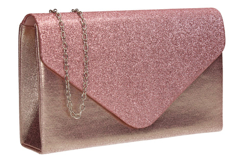 Kelly Glitter Clutch Bag Pink
