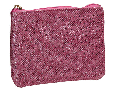 Sarah Slim Glitter Card Holder Coin Purse Pink