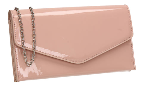 Evie Plain Patent Envelope Clutch Bag Pink