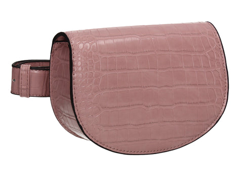 Aminah Faux Leather Snakeskin effect Belt Bag Pink