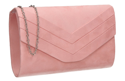 Samantha V Detail Clutch Bag Pink