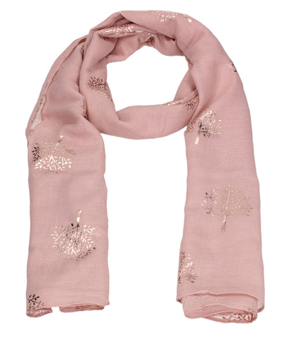 Mulberry Rose Gold Tree Scarf Pink