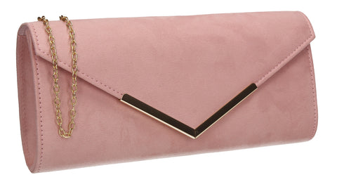 Leona Envelope Faux Suede Clutch Bag Pink